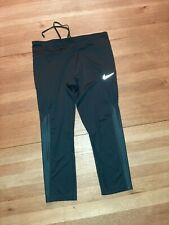 "Womens Black Nike Dri-fit Capri's Unstretched Waist Is 15"" Size L Good Condition"