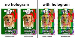 Therapy Service Dog Medical Symbol Snake ADA green Badge wallet card ID
