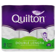 QUILTON TOILET ROLL FLORAL DOUBLE LENGTH 3PLY 9 PACK TISSUE PAPERS BATHROOM
