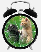 "Cute Kitten Cats Alarm Desk Clock 3.75"" Home or Office Decor Z118 Nice For Gift"