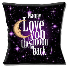 """'LOVE YOU TO THE MOON & BACK NANNY' BLACK PURPLE WHITE 16"""" Pillow Cushion Cover"""