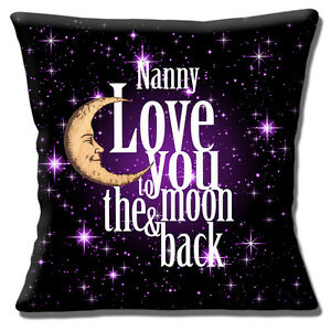 "'LOVE YOU TO THE MOON & BACK NANNY' BLACK PURPLE WHITE  16"" Pillow Cushion Cover"
