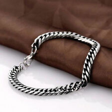 Silver Men's Punk Stainless Steel Chain Link Bracelets Wristband Bangle Jewelry
