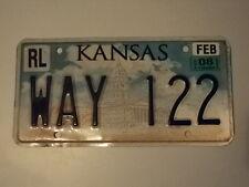 2008 KANSAS Capital License Plate WAY 122 KS three letter word