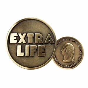 """Ready Player One Cosplay """"EXTRA LIFE"""" Coin Commemorative Bronze Plated Badge"""