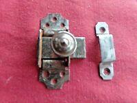 Ancien verrou début XX ème en métal avec butée-pour meuble et porte