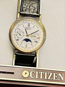 Vintage Masterpiece Elegance Perpetual Moon phase Citizen Men´s watch 80s