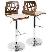 OPEN BOX Folia Mid-Century Modern Adjustable Barstool with Swivel in Walnut A...