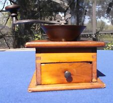 Vintage-Antique Cast Iron With Wood Base Coffee Bean Grinder Mill