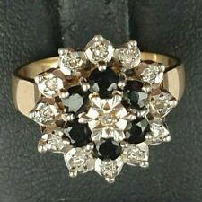 Cluster 4.61g Size Q Us 8 1/4 9ct Gold Vintage Wide Natural Sapphire & Diamonds