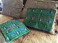 2~RARE *GREEN* Pillow Case Cover Ethnic Hand Woven Huipil Textiles Guatemala VTG