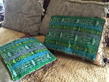 2~RARE *Green Color* Pillow Cover Ethnic Handwoven Huipil Textiles Guatemala VTG