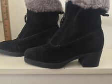 AQUATALIA SHEARLING LINED BLACK SUEDE  ZIP UP BOOTS FITS SIZE 5 1/2