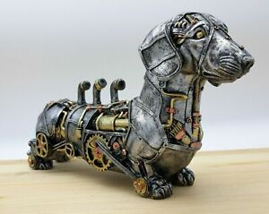 Steampunk Dachshund Sausage Dog Ornament Metal Appearance Resin