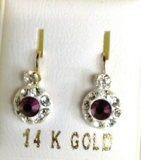 New 14kt Yellow Gold Amethyst Antique Style Euro Mini Earrings