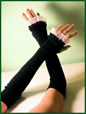 "19"" LONG BLACK knit  satin lace ARM WARMERS FINGERLESS GLOVES victorian gothic"