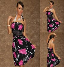 Sz M 10 12 Pink Black Strapless Bandeau Party Dance Prom Sexy Floral Club Dress