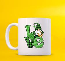 St. Patrick'S Love Christmas Eve Gift For Friend White Green Caro Pattern Mug