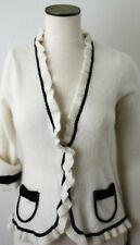 Etoile Cardigan Sweater, Long Sleeve Beige/Black Size M, with two Pockets