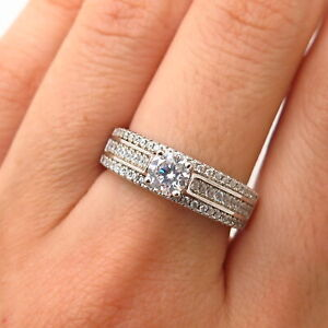 925 Sterling Silver Swarovski Crystal 3-Row Engagement Ring Size 8