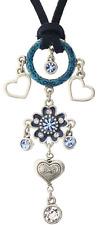 £40 Retro Silver Blue Flower Heart Pendant Necklace Swarovski Elements Crystal