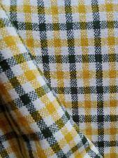 Vintage 50s 100 % wool fabric black yellow paid check tweed 150 cm X 170 cm