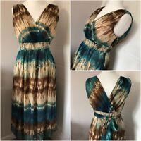 Wallis Turquoise Brown Sleeveless Dress Tie Back Midi Grecian Style Size 14 BNWT