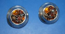 Boucles d'oreilles J de G ou Jacky de G métal argenté léger et strass années 80