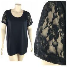 Glamorosa Top Women Plus 26 Black Thin Knit Sheer Lace Short Sleeve Round Neck