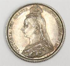 1887 Great Britain six pence Queen Victoria Jubilee head nice early strike AU58