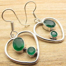 Silver Plated Genuine Green Onyx Earrings ART Fashion Jewelry Collection