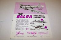 Vintage GUILLOWS BALSA SKYRAIDERS airplane model - ad sheet #0206