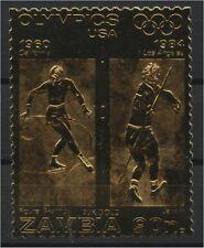 ZAMBIA. GOLD FOIL OLYMPICS,  Figure Skating, Javelin
