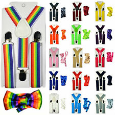 Children Kids Baby Elastic Suspenders Belt Bow Tie Set Boys Girls Bowtie Braces