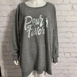 Wildfox Women's Statement Sweatshirt 2XL Gray Pour Pavor New