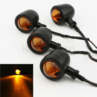 4X Retro Black Motorcycle Turn Signals Indicator Light for Cafe Racer Touring