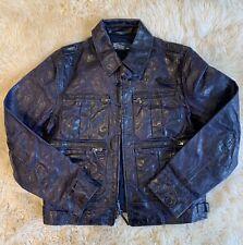 Polo Ralph Lauren Navy Blue Leather Jacket Size M
