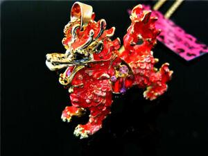 Pendant Betsey Johnson Jewelry Pink Dragon Enamel Rhinestone Chain Necklace