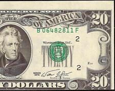 1974 $20 DOLLAR BILL MISALIGNMENT SHIFT PRINT ERROR NOTE CRISP CURRENCY MONEY