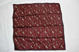 """Mens Vintage Silk Handkerchief, 19x29"""" Flying Geese Excellent Ashear Italy"""