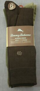 Tommy Bahama 6 Pair Men's Ribbed Crew Socks Brown Olive Khaki Socks One Sz, 0125