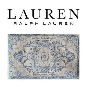 🆕️Lauren RALPH LAUREN Percy WOOL Hand Woven Area Rug 2.6'x4' Blue Carpet Tribal