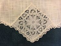 "Antique Vintage White Linen Lace Doily Table Runner  - 30"" x 13"""
