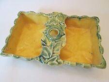 CENTERPIECE CANDLE PLANTER! Vintage McCOY ART pottery: gloss YELLOW glaze LOVELY