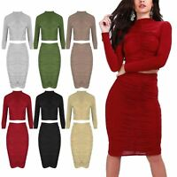 Ladies Womens Ruched Polo Roll Neck Ruched Bodycon Cropped Top Skirts Co-Ord Set