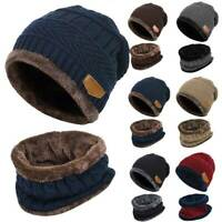 Men's Winter Beanie Hat Warm Fleece Knitted Thick Knit Cap and Scarf Set Unisex