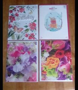 4 x birthday cards  16.5cm x 12.5cm assorted  designs