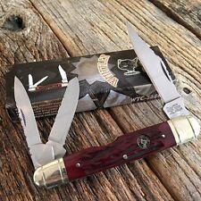 "Wild Turkey 3 Blade 4 1/2"" Pocket Knife Cigar Whittler Red Jigged Bone WTC568RPB"