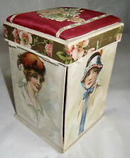 Antique Sewing Box Silk Fittings Prints Ladies