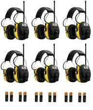 (6) Pack WORKTUNES Digital AM FM MP3 HEADPHONES Hearing PROTECTION w/ Batteries